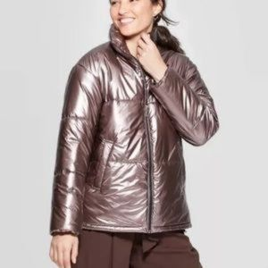 A New day brown Shimmer Puffer Jacket